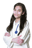 Young medical student. Young female medical student in white lab coat Royalty Free Stock Image