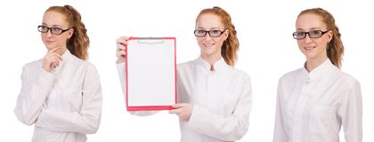 The young  medical  student  with   binder isolated on white. Young  medical  student  with   binder isolated on white Stock Photo
