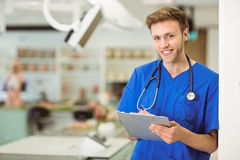 Young medical student writing notes. At the university royalty free stock photo