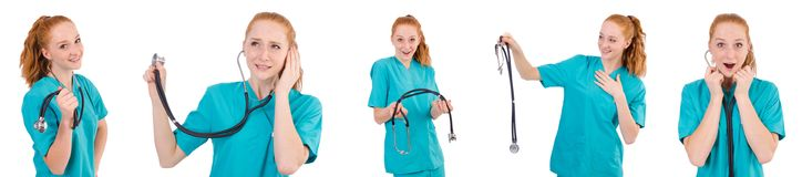 The young medical trainee with stethoscope  isolated on white. Young medical trainee with stethoscope  isolated on white Stock Photo