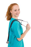 Young medical trainee with stethoscope Royalty Free Stock Photos