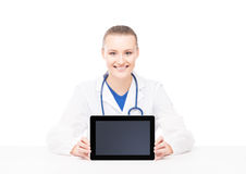 Young medical woman holding a tablet computer Stock Photos