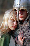 Young medieval couple. Strong soldier and maid Stock Images