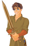 Young Medieval Man Holding a Sword. Illustration of young King Arthur just withdrawing Excalibur of the stone Stock Photography