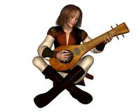 Young Medieval Minstrel with Lute Royalty Free Stock Image