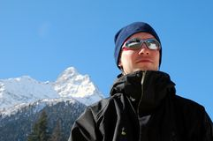 Young men. In sun glasses on ski resort Royalty Free Stock Images