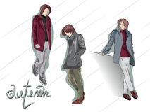Young men in autumn clothes Royalty Free Stock Image