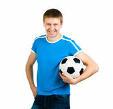 Young men with the ball. Young man with the ball over white backgrounf stock image