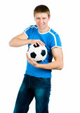 Young men with the ball. Young man with the ball over white backgrounf royalty free stock image