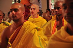 Young men being initiated. In an ashram or monastery, initiation ceremony Stock Photos