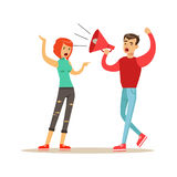 Young men characters shouting to a woman through a megaphone, negative emotions concept vector Illustration. On a white background Stock Photo