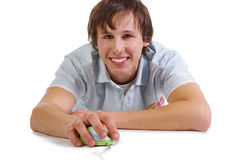 Young men with computer mouse Stock Photos