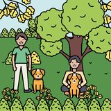 Young men with cute dogs mascots. Vector illustration design vector illustration