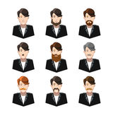 Young men with different type of mustaches and beards on white Royalty Free Stock Photography