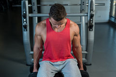 Young Men Doing Heavy Dumbbell Exercise Royalty Free Stock Photos