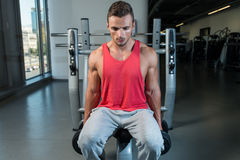 Young Men Doing Heavy Dumbbell Exercise Royalty Free Stock Image