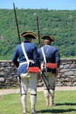 Young men dressed as soldiers standing at attention,Fort Ticonderoga,2015 Stock Photo
