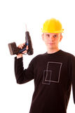 Young men  with drill Royalty Free Stock Photography