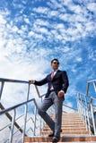 Young men entrepreneur smoking during work break Stock Photography