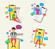 Young men fashion with social media activity stock illustration