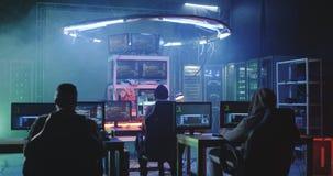 Young men hacking in a basement