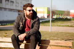 Young men with hipster look Stock Image