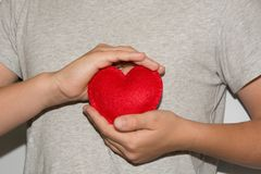 Young men hold red heart in hand. Love Royalty Free Stock Images