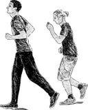 Young men for a jog. Vector sketch of the young men for a run Stock Photos