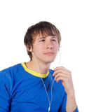 Young men listen to the music Royalty Free Stock Image
