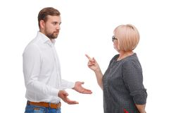 Young man and older woman arguing isolated on white background royalty free stock images