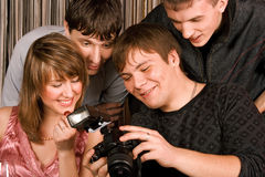 Young men with photocamera stock image
