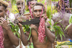 Young men playing panpipes, Solomon Islands Royalty Free Stock Photos