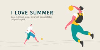 Young men playing soccer and basketball vector illustration. Modern flat graphic style people enjoying summer and doing sport activities vector illustration