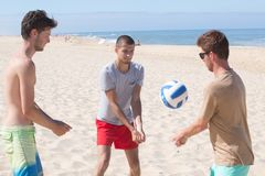 Young men playing volley ball in beach. Young men playing volley ball in the beach Royalty Free Stock Photos