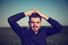 Young men portrait shot. Young man outdoor, portrait shot royalty free stock images