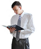Young men  read book on white background r Stock Image
