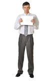 Young men  read book on white background r Royalty Free Stock Photography