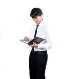 Young men  read book on white background r Stock Photos
