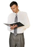 Young men  read book on white background r Royalty Free Stock Photos
