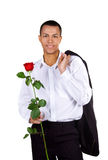 Young men with the red rose Stock Images