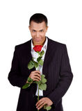 Young men with the red rose on white stock photo