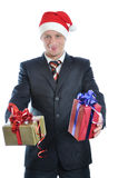 Young men in santa hat with gift isolated Stock Photo