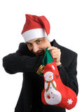 Young men in a santa's hat Royalty Free Stock Images