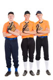 Young men in the shape of a baseball game Stock Images