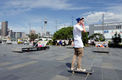 Young men Skateboarding in Auckland viaduct Stock Photo