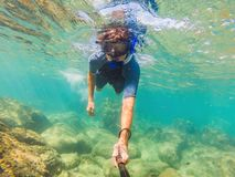 Young men snorkeling exploring underwater coral reef landscape background in the deep blue ocean with colorful fish and. Young man snorkeling exploring royalty free stock images