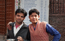 Young men on the street in Amritsar. India Royalty Free Stock Photography