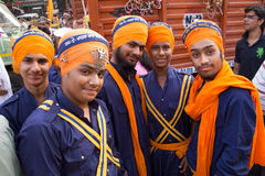 Young men taking part in Guru Nanak Gurpurab celebration in Delh Stock Images