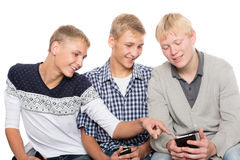 Young men use smartphones Royalty Free Stock Images
