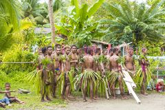 Dancer and musicians Solomon Islands between tropical vegetation Stock Image
